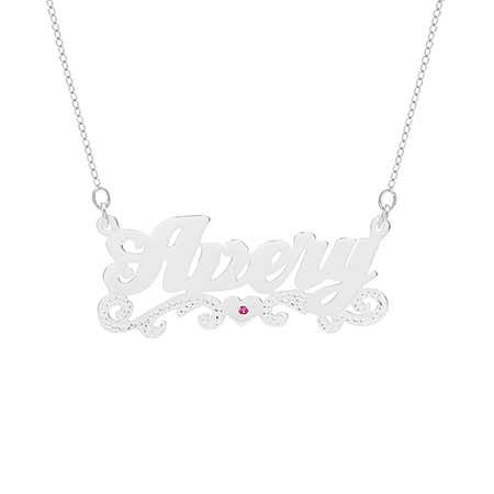 Scroll Design Custom Birthstone Nameplate Necklace