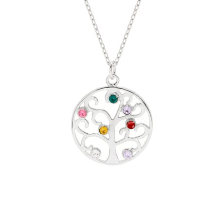 7 Birthstone Family Tree Pendant in Sterling Silver