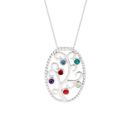 Swarovski Crystal 6 Birthstone Family Tree Pendant | Eve's Addiction