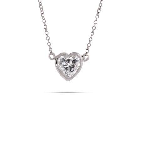 Sterling Silver Bezel CZ Heart Necklace