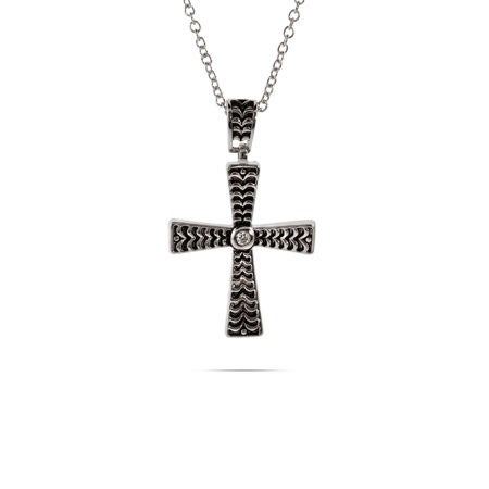 Sterling Silver Bali Style Cross Pendant with Single CZ