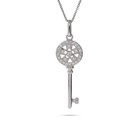 Petite Vintage Style Pave Flower Key Pendant | Eve's Addiction®