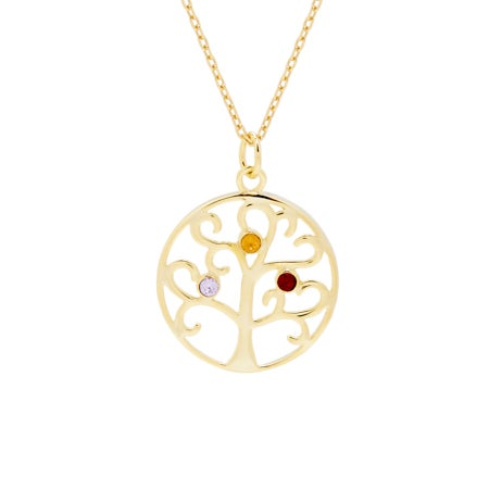 3 Birthstone Gold Vermeil Crystal Family Tree Pendant