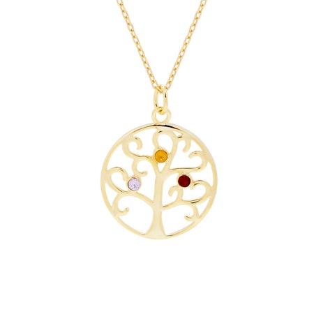 3 Birthstone Gold Vermeil Crystal Family Tree Pendant