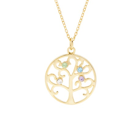 Gold Vermeil 4 Birthstone Family Tree Pendant