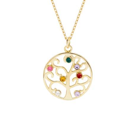 7 Stone Gold Vermeil Crystal Birthstone Family Tree Pendant