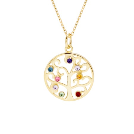 8 Stone Gold Vermeil Crystal Family Tree Pendant