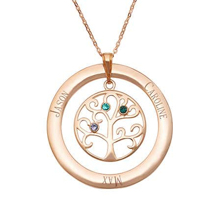 3 Birthstone Engravable Rose Gold Plated Family Tree Necklace