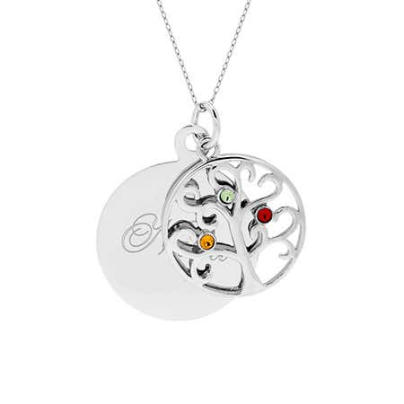 display slide 1 of 4 - Engravable Family Tree Three Birthstone Pendant - selected slide