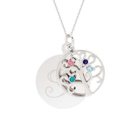 Engravable 4 Stone Sparkling Crystal Family Tree Pendant