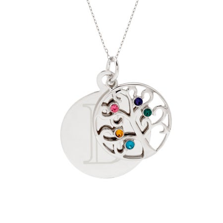 Engravable 5 Stone Sparkling Crystal Family Tree Necklace