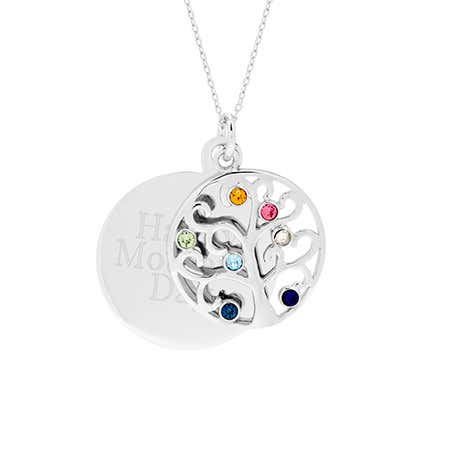 Engravable 7 Stone Family Tree Charm Pendant