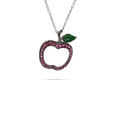 Silver Red CZ Apple Charm Necklace