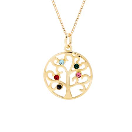 Custom 5 Birthstone Gold Vermeil Family Tree Pendant