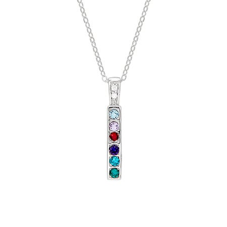 6 Stone Sterling Silver Bar Birthstone Mother's Necklace