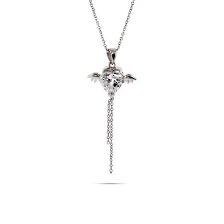 Winged Heart Sterling Silver Necklace