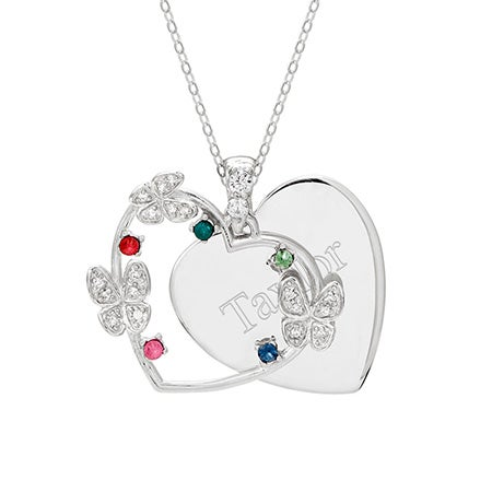5 Birthstone Butterfly Engravable Pendant | Eve's Addiction