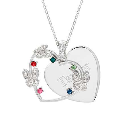 5 Birthstone Butterfly Engravable Pendant