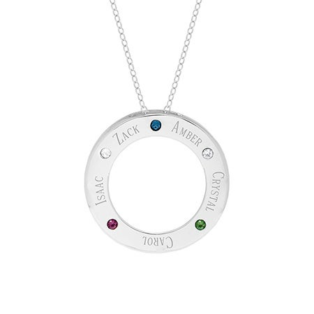 5 Birthstone Engravable Family Circle Necklace