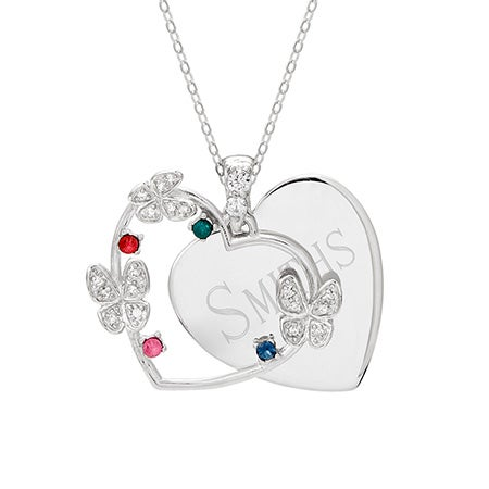 Engravable 4 Stone Butterfly Pendant