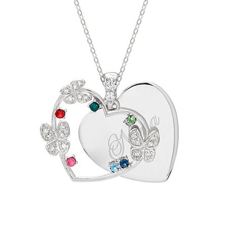 Engravable 6 Stone Austrian Crystal Butterfly Pendant | Eve's Addiction