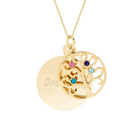 Engravable 4 Stone Gold Plated Round Family Tree Pendant