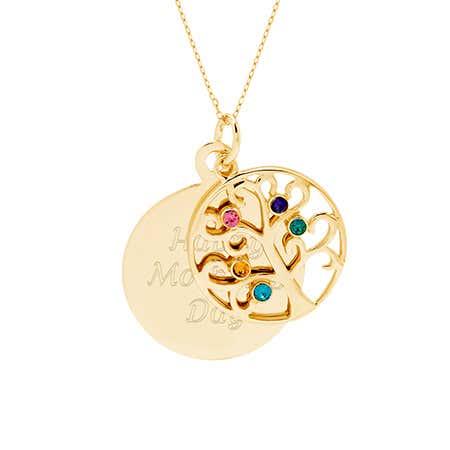 Engravable 5 Stone Gold Vermeil Birthstone Family Tree Pendant