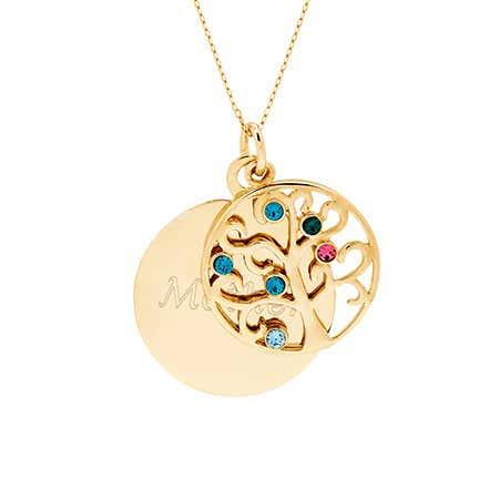 Engravable 6 Stone Gold Vermeil Birthstone Family Tree Pendant