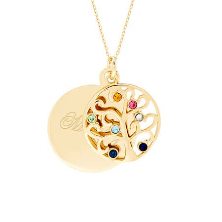 Engravable 7 Birthstone Gold Vermeil Circle Family Tree Necklace