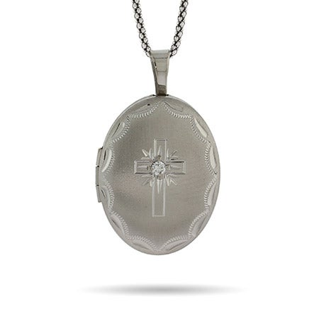 Engravable Silver Oval Cross Photo Locket