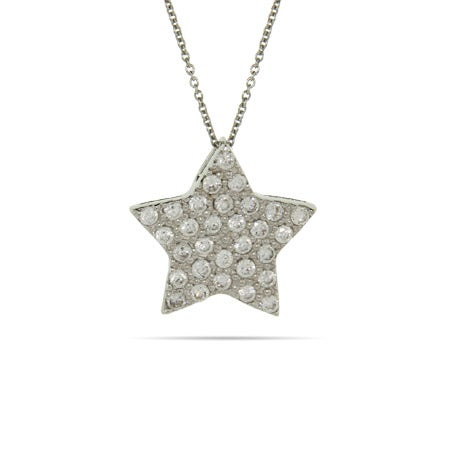 Pave CZ Sterling Silver Star Pendant