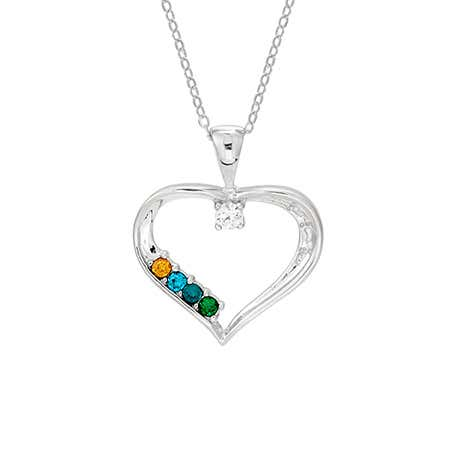 4 Stone Custom Birthstone Mothers Heart Necklace
