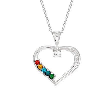 5 Stone Swarovski Crystal Custom Birthstone Mothers Heart Pendant