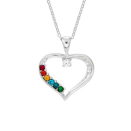 display slide 1 of 4 - 6 Birthstone Swarovski Crystal Mothers Heart Pendant - selected slide