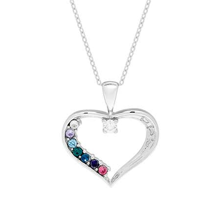 7 Stone Swarovski Crystal Custom Birthstone Mothers Heart Pendant