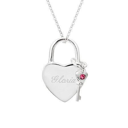 Engravable Locked Heart 1 Birthstone Key Pendant