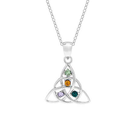 4 Birthstone Celtic Trinity Knot Birthstone Pendant | Eve's Addiction®