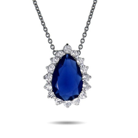 Royalty Inspired Pear Cut Sapphire CZ Pendant
