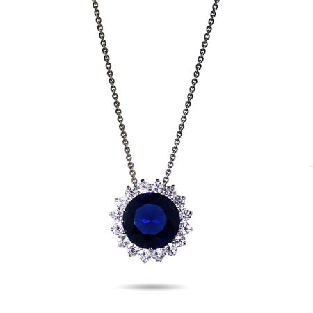 Royalty Inspired Sapphire Brilliant Round CZ Necklace