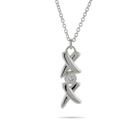 Hugs and Kisses Bezel CZ Necklace | Eve's Addiction®