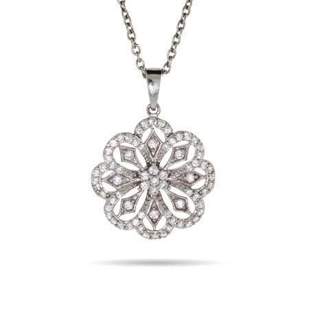 Vintage Silver CZ Flower Petal Pendant