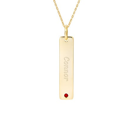 Engravable Gold Vermeil Birthstone Tag Pendant
