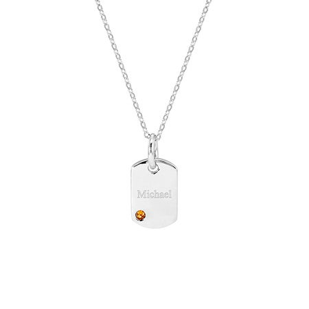 Sterling Silver Engravable Birthstone Dog Tag