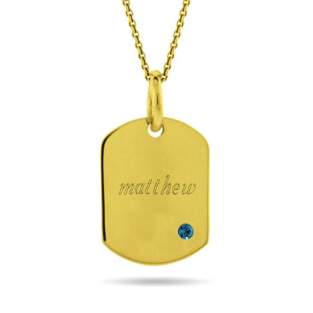 Engravable Gold Plated Birthstone Dog Tag Necklace