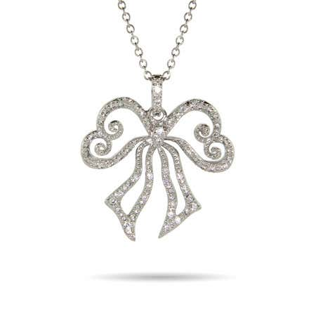 Heart Shaped Silver CZ Bow Necklace