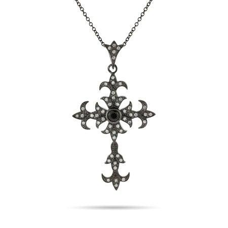 Black Rhodium CZ Gothic Cross Pendant