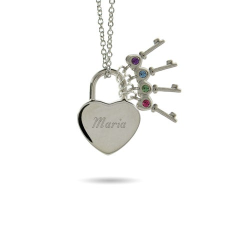 Locked Engravable Heart with 4 Birthstone Key Necklace