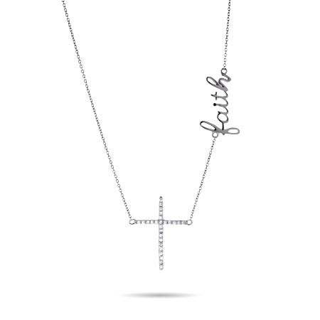 Sterling Silver and CZ Faith Cross Necklace
