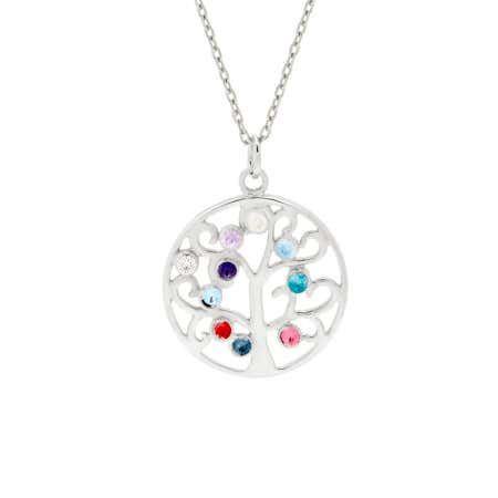 10 Birthstone Simple Family Tree Necklace