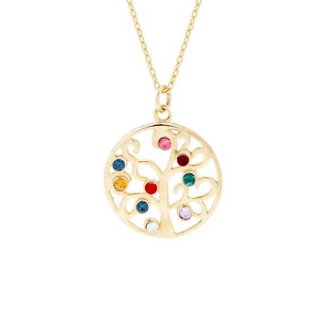 9 Birthstone Gold Vermeil Custom Family Tree Necklace